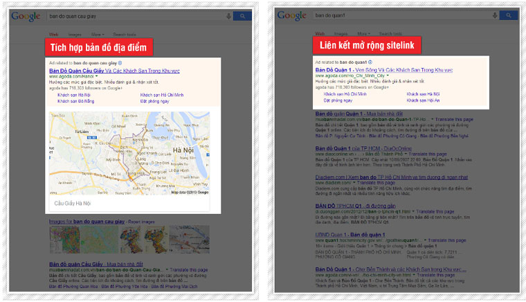 Tích hợp bản đồ địa điểm. Liên kết mở rộng sitelink